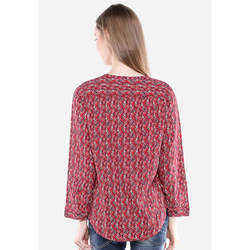 Regular Fit Kemeja Wanita Merah Lengan Panjang
