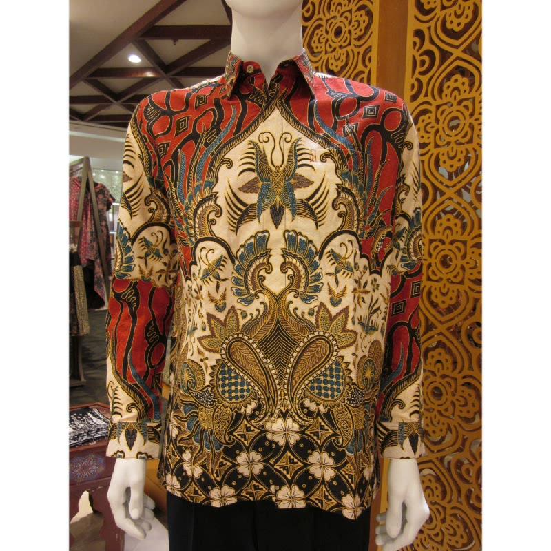 Batik Semar Hem Panjang Dobi Ceplok Kawung 30 Merah (XL)