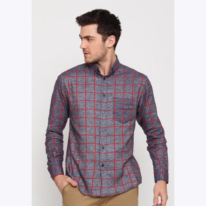 17seven Men Shirt Flanel Ederemit Grey