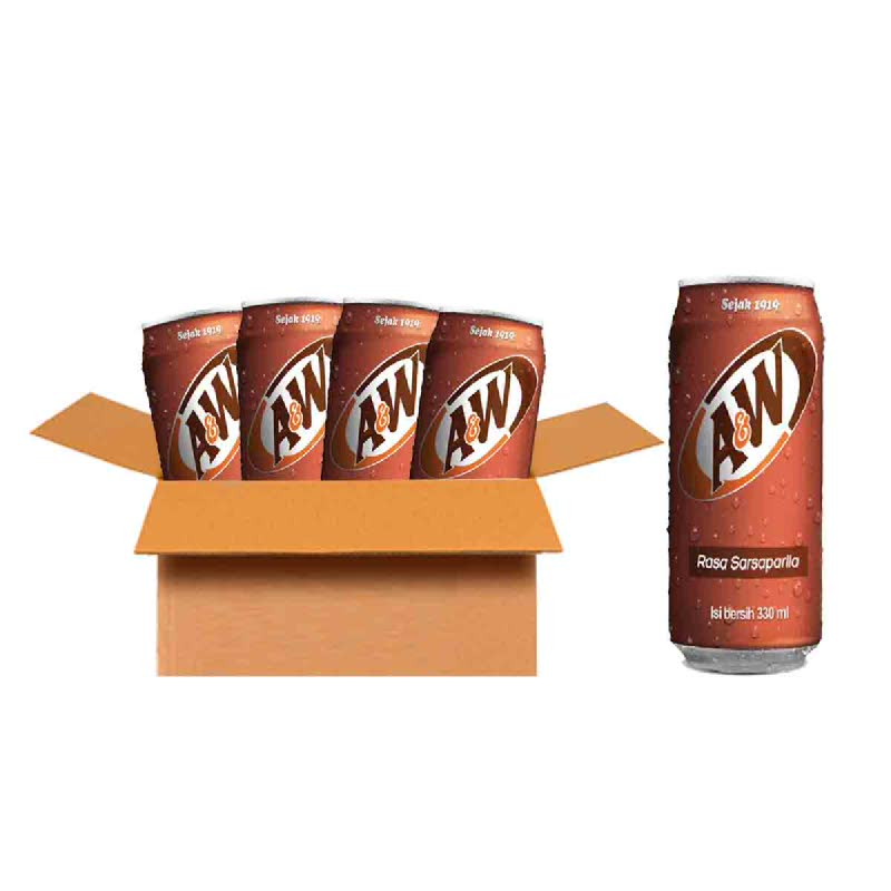A&W Minuman Berkarbonasi Rasa Sarsaparila 330 Ml ( 1 Karton )