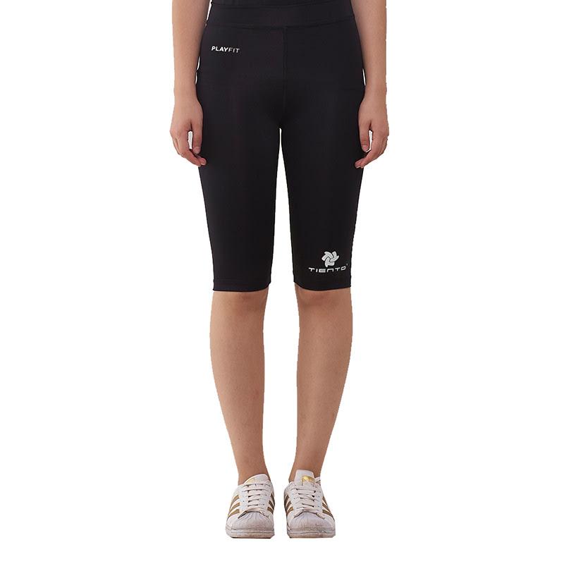 Tiento Women Baselayer Legging Compression Olahraga Senam Gym Fitness Yoga Lari Renang Running Half Pants Black White Original