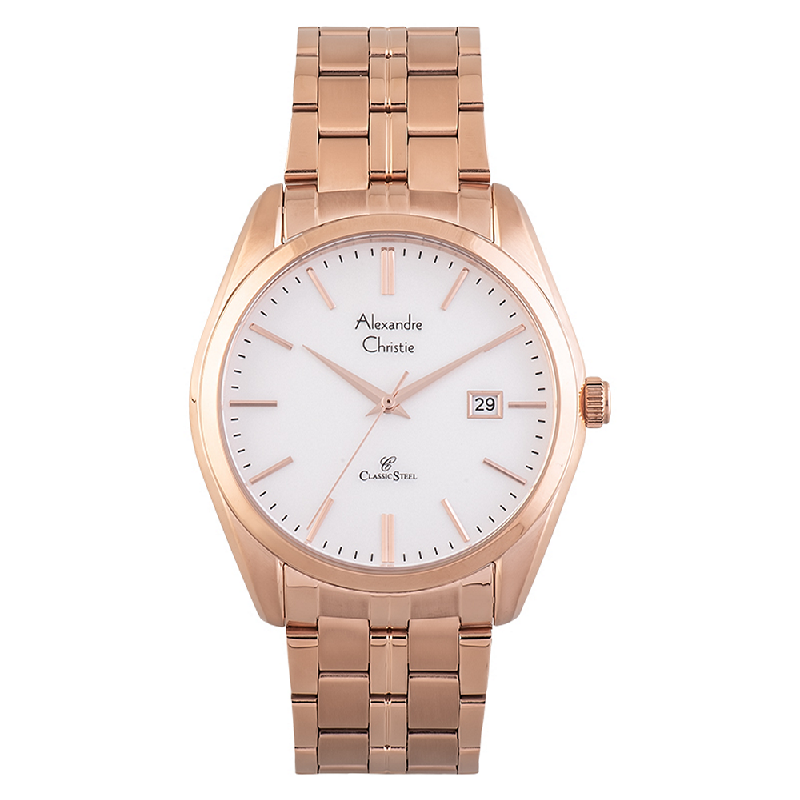 Alexandre Christie AC 8558 MD BRGSL Classic Steel Men Silver Dial Rose Gold Stainless Steel Strap