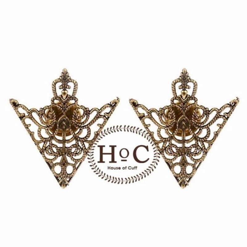 House Of Cuff Lapel Pin Bros Jas Wedding Best Man Vintage Triangle Bronze Collar Pin