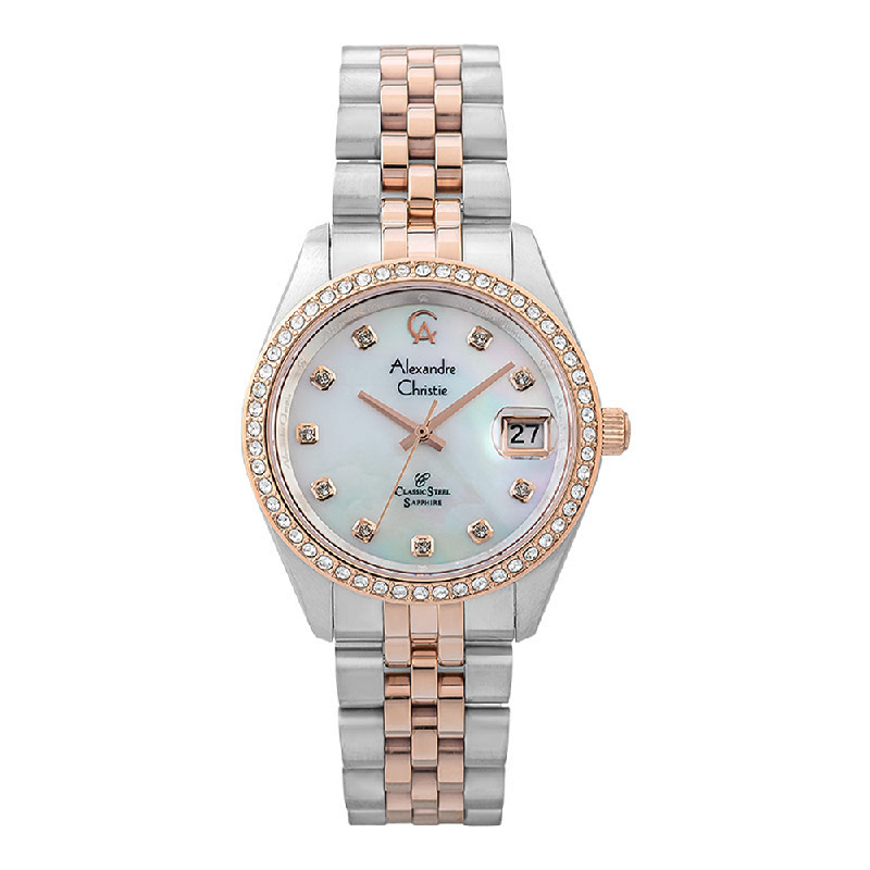 Alexandre Christie Classic Steel AC 5012 MDBTRMS Men Mother Of Pearl Dial Dual Tone Stainless Steel