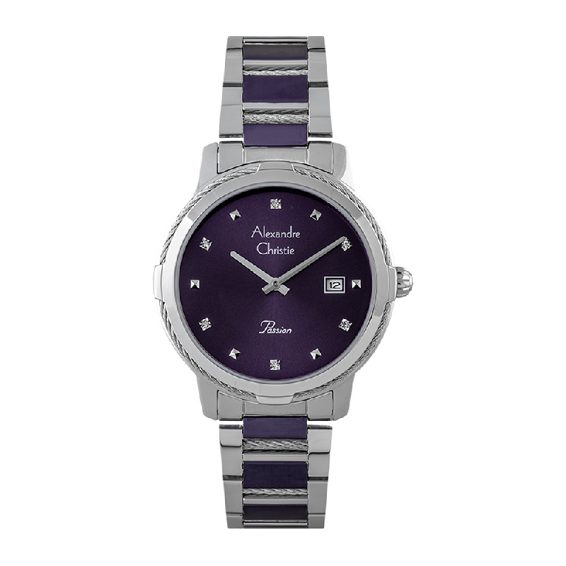 Alexandre Christie Passion AC 2846 LD BTLPU Ladies Purple Dial Dual Tone Stainless Steel