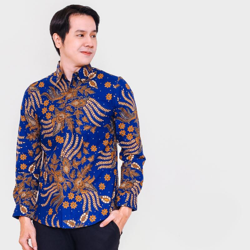 Arsya Blue Slimfit Long Sleeve Men Batik