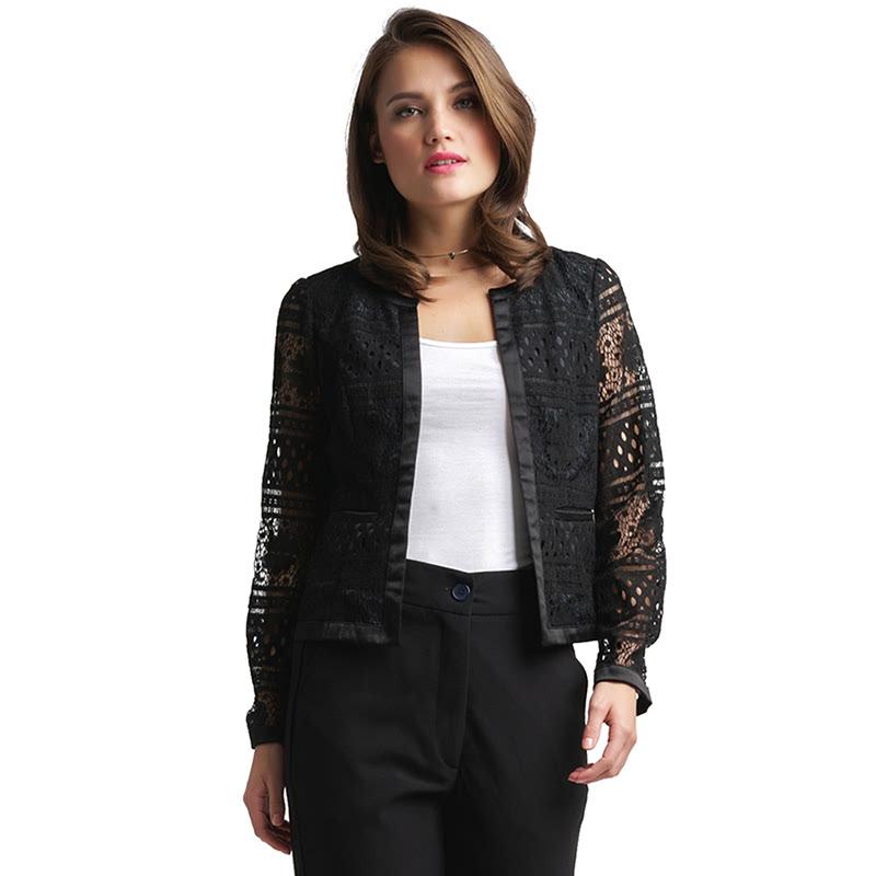 Minimal Geometric Lace Jacket BLACK