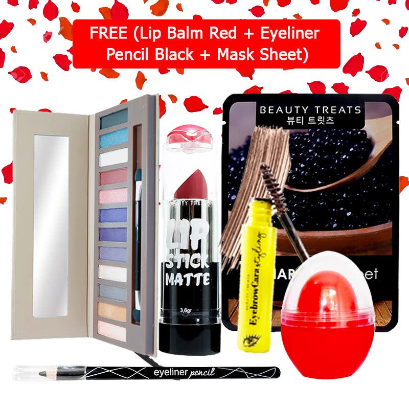 Beauty Treats Make Up Set B (Naked Eyeshadow No. 2 + Lipstick No. 5 + Eyebrowcara Dark Brown) FREE Kiss Me Lip Balm Red + Eyeliner Pencil Black + Mask Sheet Caviar