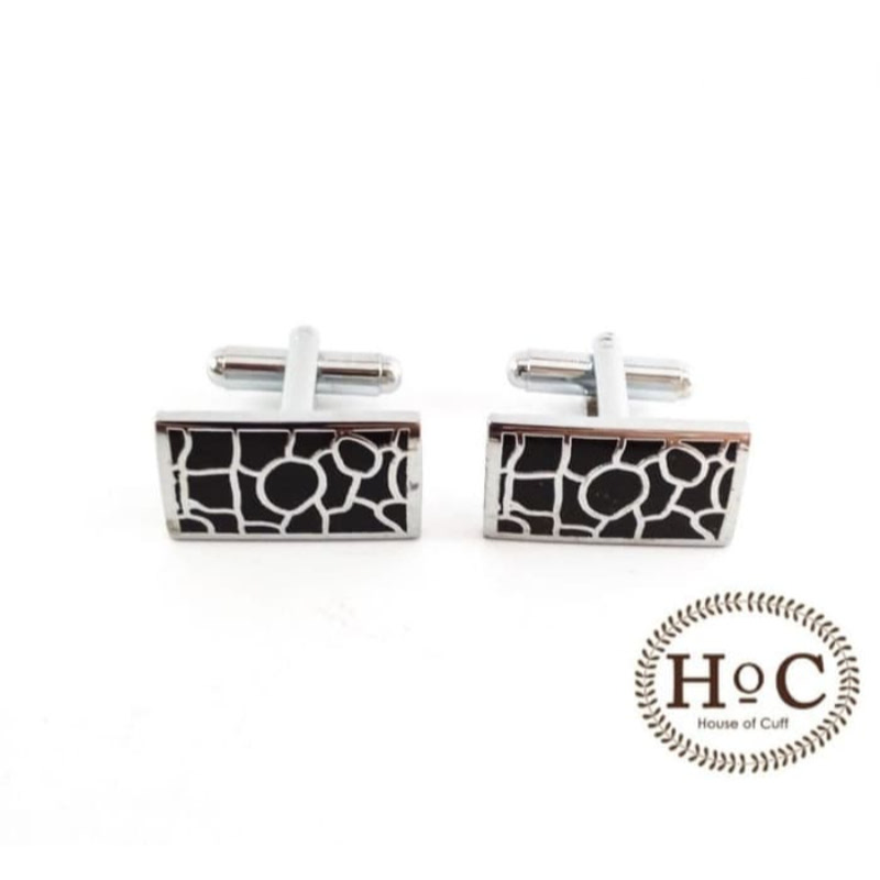 House Of Cuff Cufflinks Manset Kancing Kemeja French Cuff Rectangle Black Ornament