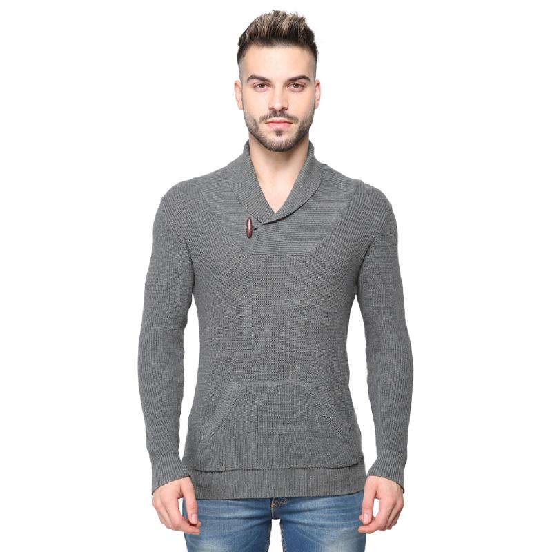 Knitwork Misty Grey Shaker Sweater KKM-17B