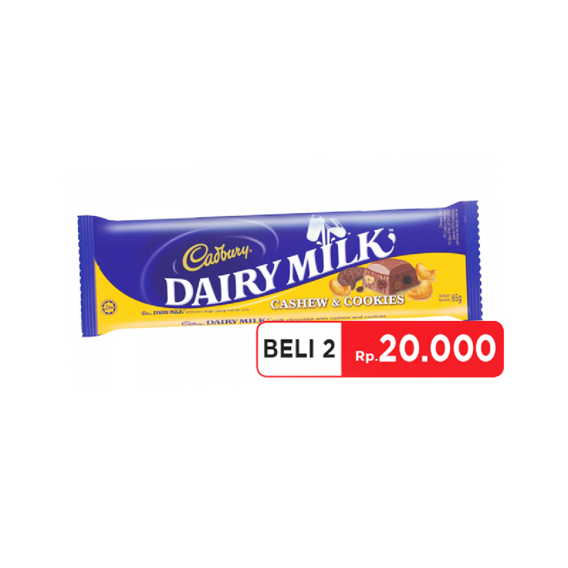 Cadbury Chocolate Cashew & Cookies 65G (Get 2)