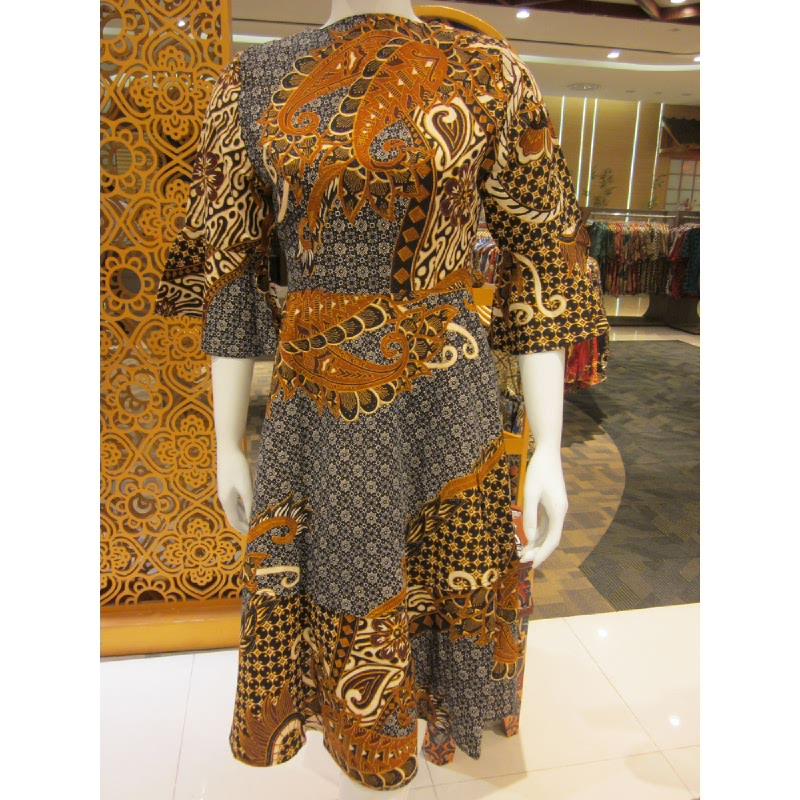 Batik Semar Hera Dress Doby Jajar Kusuma 52 Sogan Brown (Size Xl)