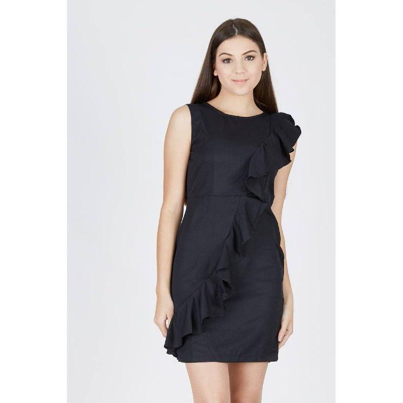Moriah Frill Dress Black