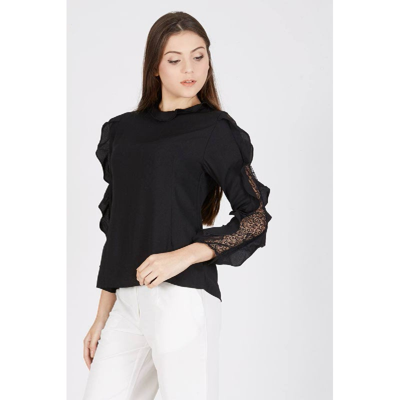 Penny Lace Sleeve Top Black