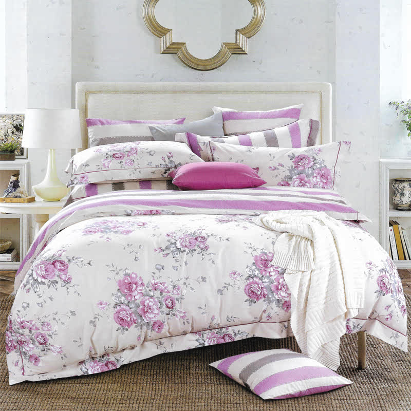 Sleep Buddy Set Sprei dan bed cover Sweet Flower Cotton Sateen 180x200x30