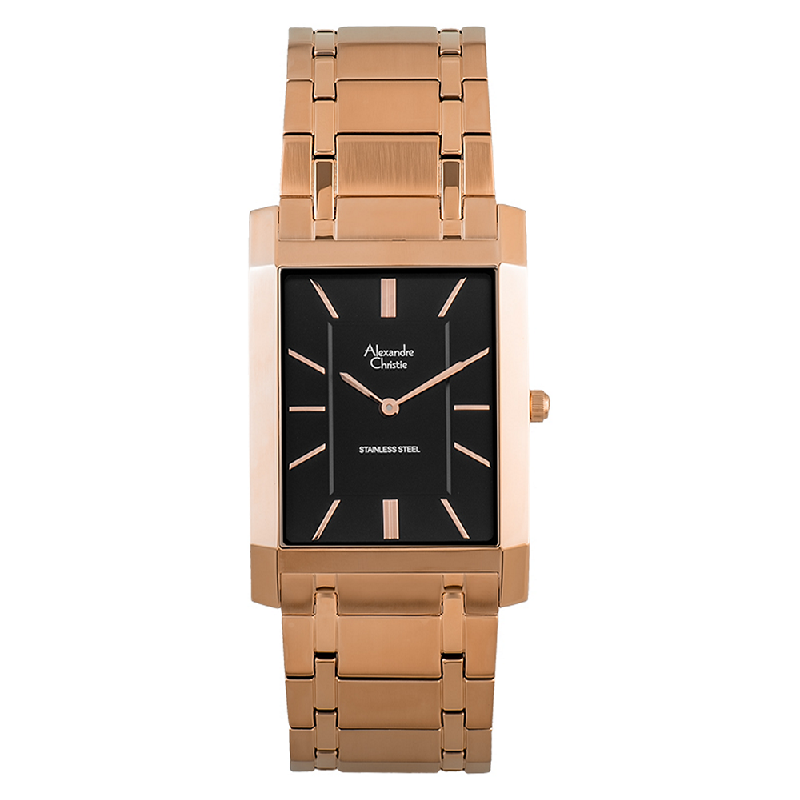 Alexandre Christie AC 8606 MH BRGBA Black Dial Rose Gold Stainless Steel Strap
