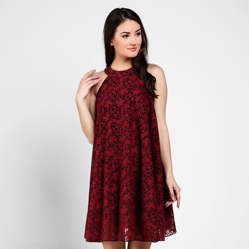 Basa Veronica Dress Red Brokat
