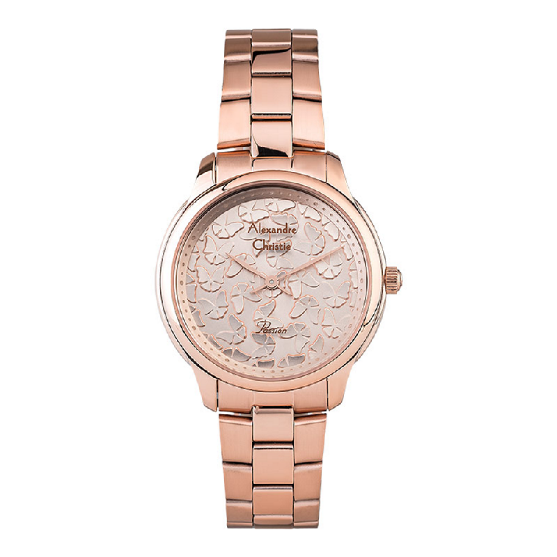 Alexandre Christie AC 2891LHBRGLN Ladies Rose Gold Butterfly Dial Rose Gold Stainless Steel Strap