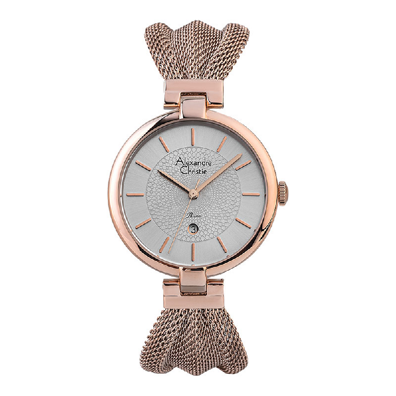 Alexandre Christie Passion AC 2872 LD BRGSL Ladies Silver Dial Rose Gold Stainless Steel Strap