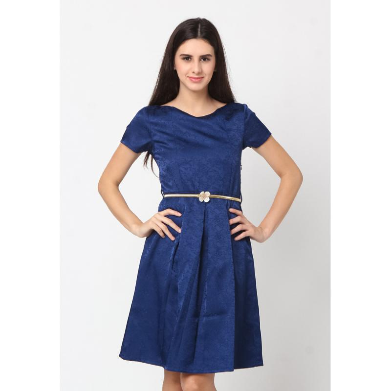 Agatha Low Back Blue Shift Dress Blue