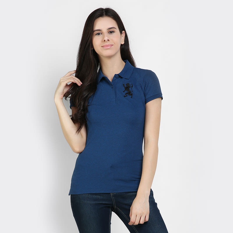 Giordano Polo Shirt Women Melange Dark Baleine Blue 317381-58