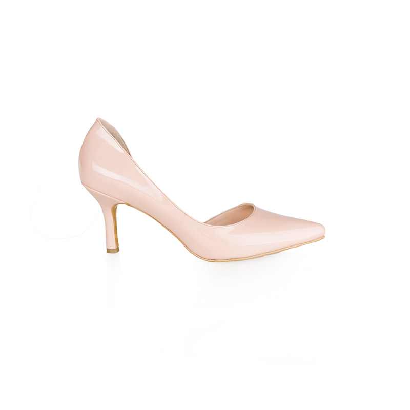 Armira High Heels D-Orsay Pointed Toe Shoes Nude Glossy