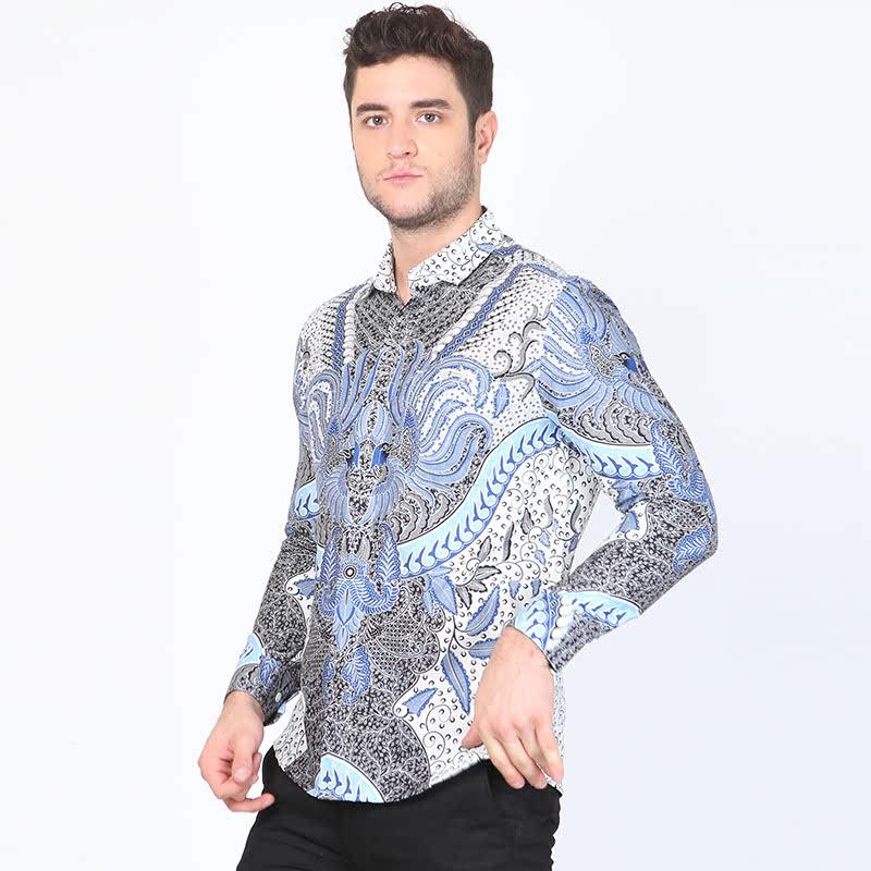 Aksa Batik Cendric Hem Panjang Blue