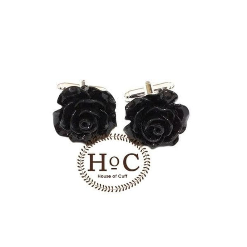 House Of Cuff Cufflinks Manset Kancing Kemeja French Cuff Flower Wax Black Cufflinks