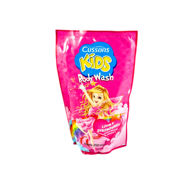 Cussons Kids Sabun Mandi Lovely Strawberry Pouch 250 Ml