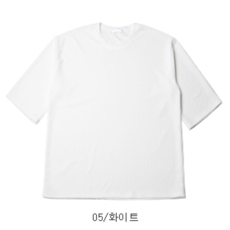 [CL2682]Over-fit Embo Three Quarter Sleeve T-shirt - White