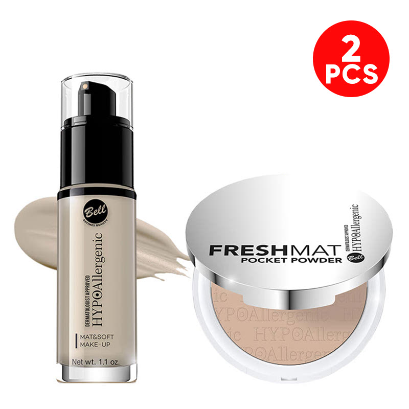 Bell Hypoallergenic Mat&Soft Make-Up 01 Light Beige & Bell Hypoallergenic Fresh Mat Pocket Powder 03 Natural Beige