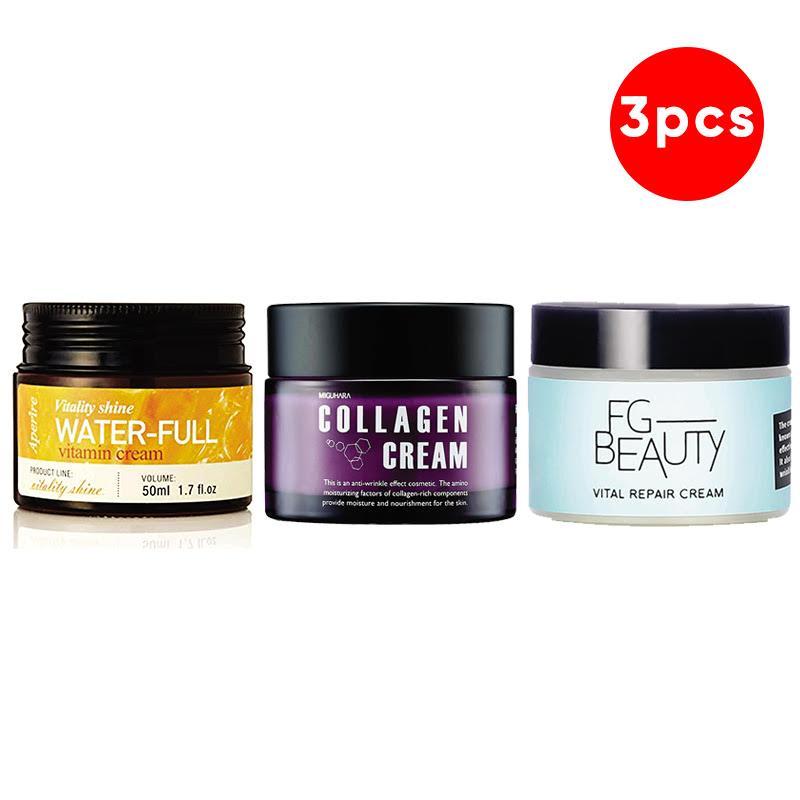Aperire Vitality Shine Waterful Vitamin C Cream 50 G + FG Beauty Vital Repair Cream 50 Ml + Miguhara Collagen Cream 50 G
