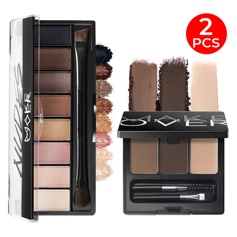 Make Over Eye Shadow Palette Nudes + Eye Brow Definition Kit 01 Dark Brown 6.9 G