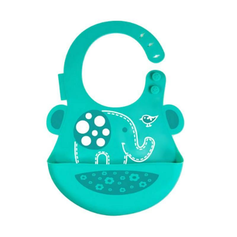 Marcus&Marcus Alat Makan Baby Bib Green Elephant Green