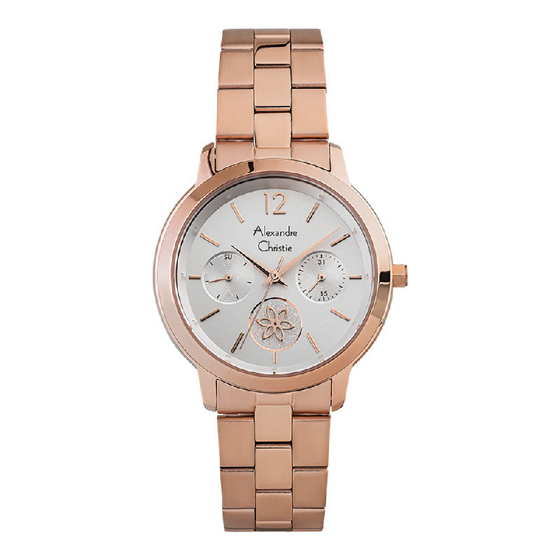 Alexandre Christie AC 2888 BF BRGSL Ladies Silver Dial Rose Gold Stainless Steel Strap
