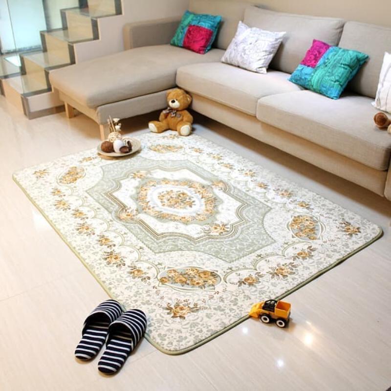 Karpet selimut karmut bunga classic vintage empuk lembut 130 x 190 cm - Green