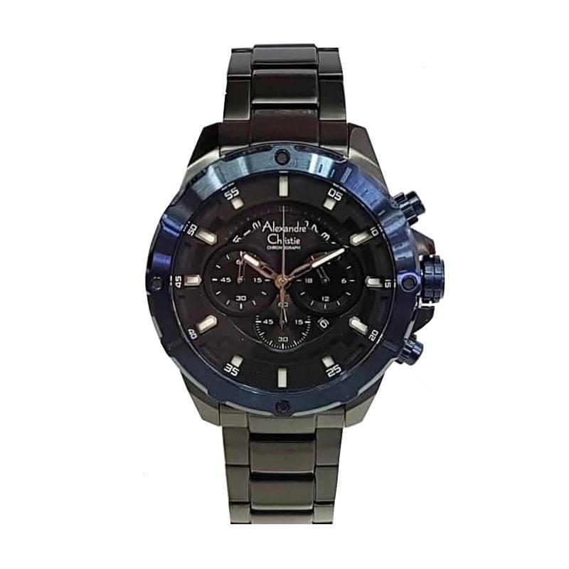 Alexandre Christie AC 6529 MCBUBBA Jam Tangan Pria Stainless Steel Blue Black