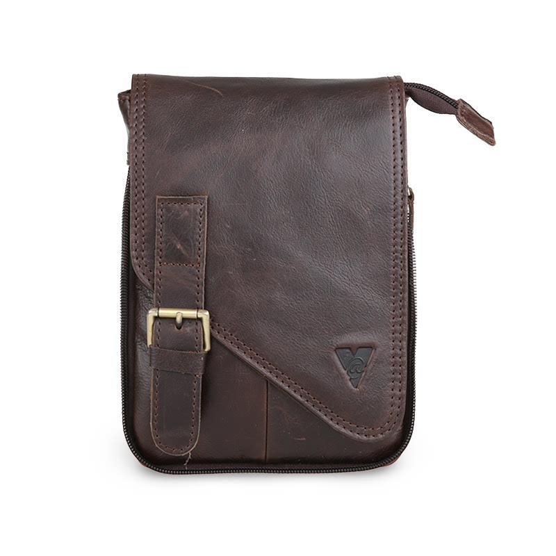 ATVERSO Leather Sling Bag Dark Brown