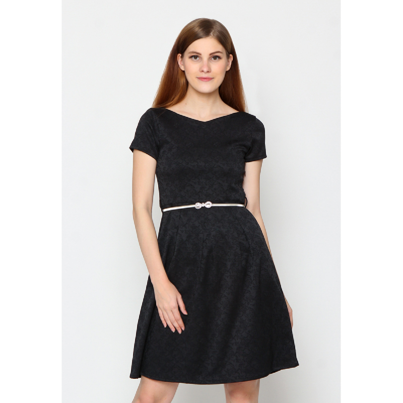 Agatha Low Back Black Shift Dress Black