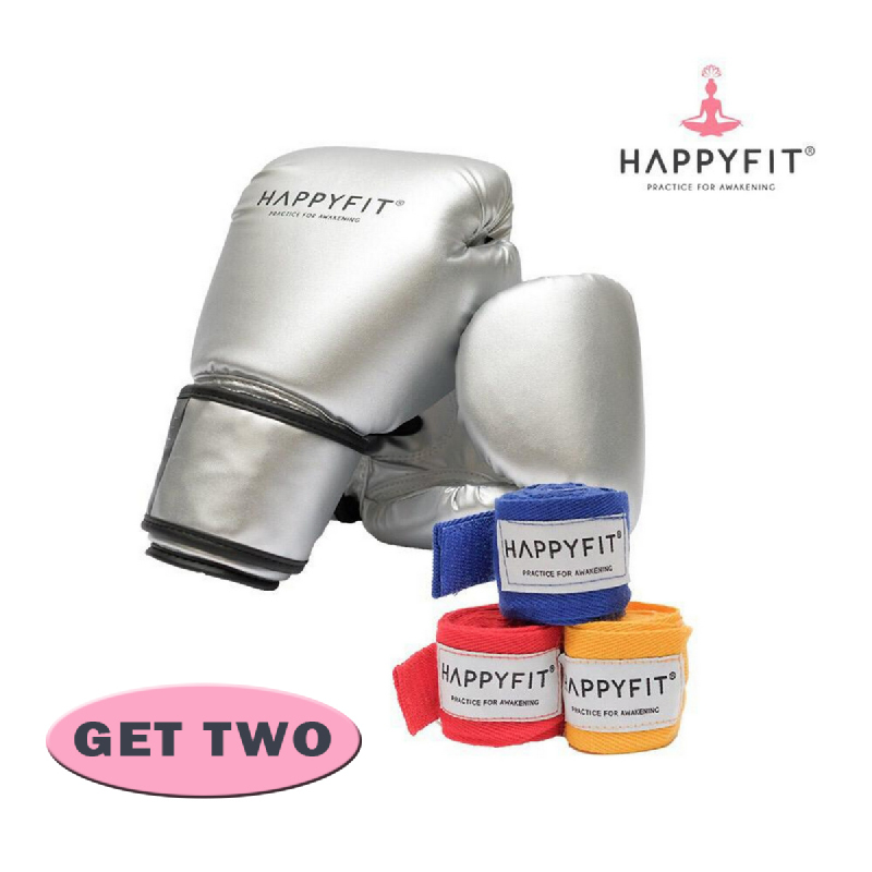 HAPPYFIT Boxing Gloves + Hand Wraps (Silver)