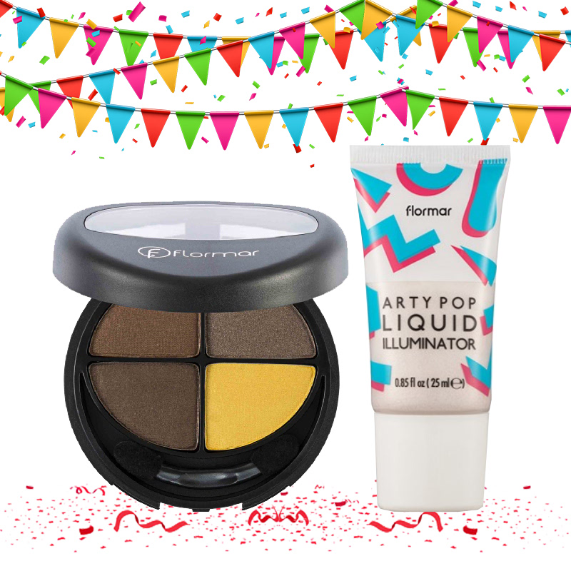 Flormar Quartet Eye Shadow 410 Byzantine Touch + Arty Pop Liquid Illuminator 01 Star Glow