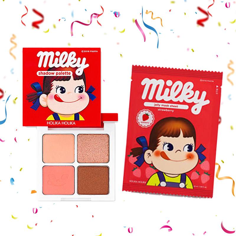 Holika Holika Peko Eye Shadow Palette 01 Strawberry Caramel + Peko Pure Essence Jelly Mask Sheet Strawberry