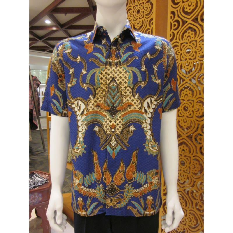 Batik Semar Hem Pendek Dobi Kawung Kinurung 40 Biru (XL)