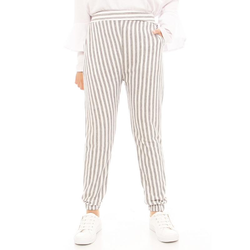 Mybamus Stripe Jogger Pants Light Gray M13409 R39S5