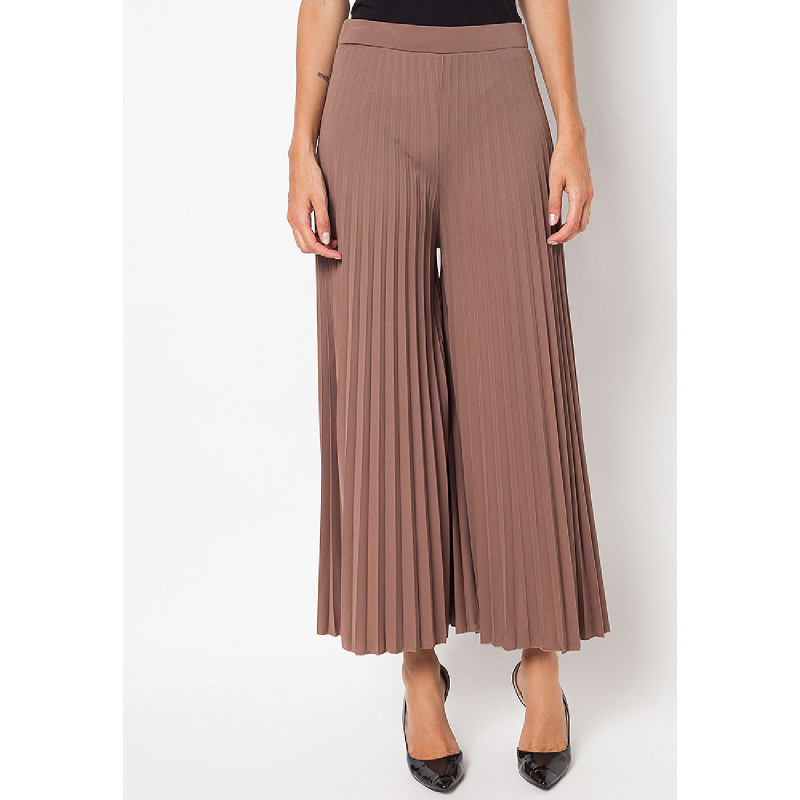 Duapola Plisket Kulot Long Pants Brown