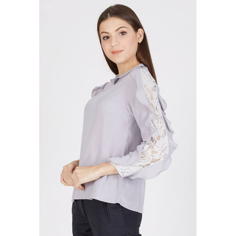 Penny Lace Sleeve Top Grey