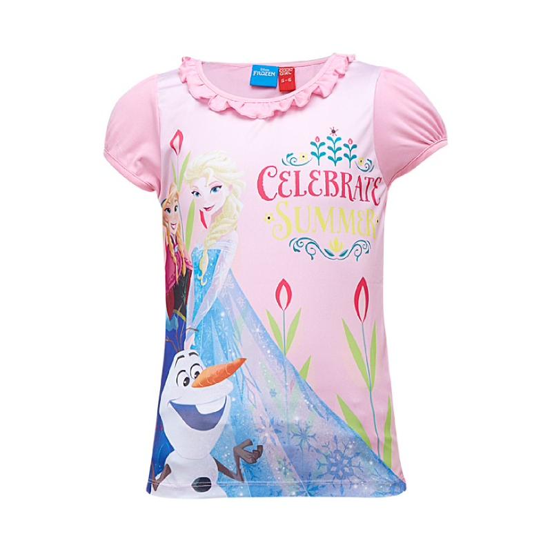 Frozen Anna and Elsa Celebrate Summer T-Shirt Short Sleeve Pink