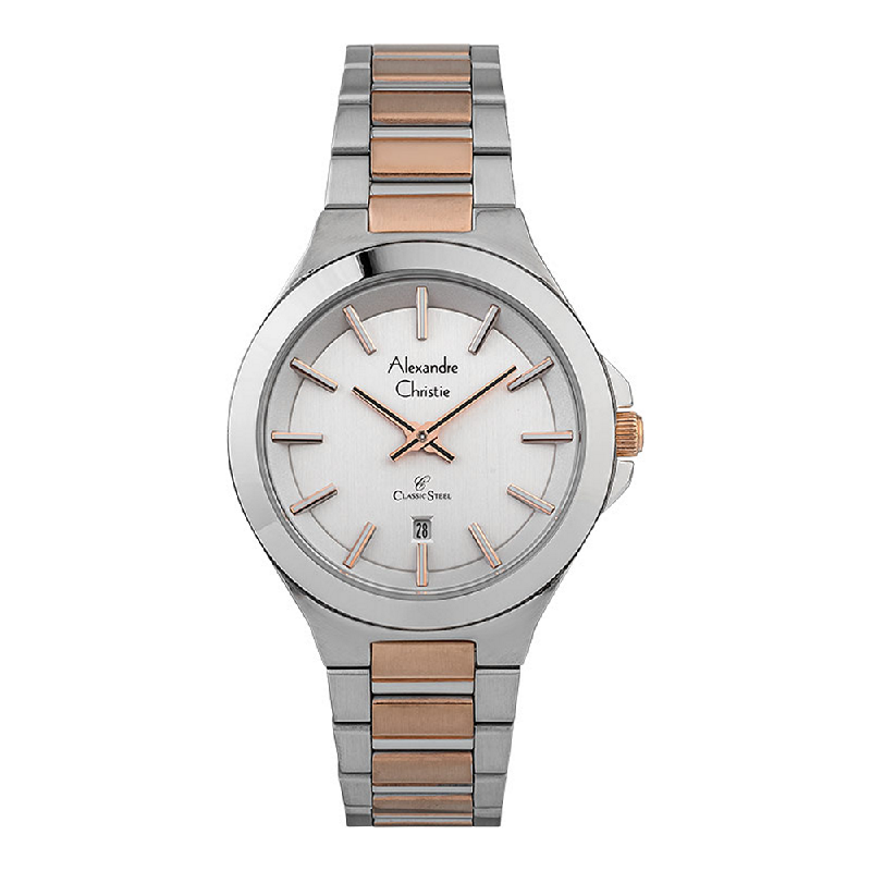 Alexandre Christie Classic Steel AC 8634 LD BTRSL Ladies Silver Dial Dual Tone Stainless Steel Strap