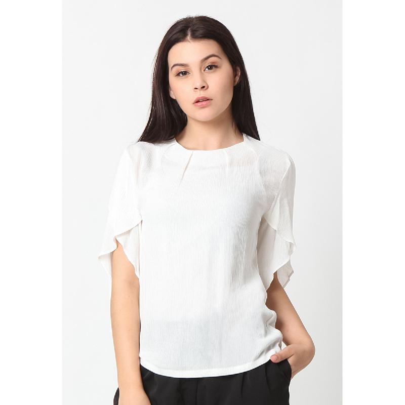 Agatha Ayana Ruffle Sleeve Blouse White