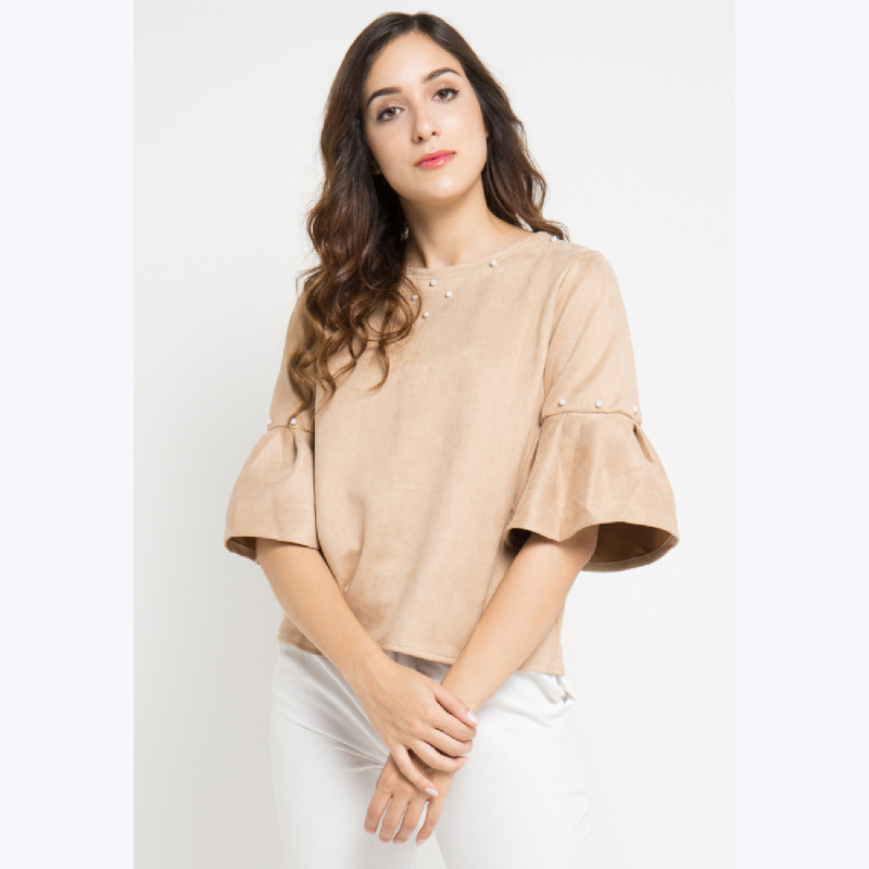 Suede Beads Blouses Brown